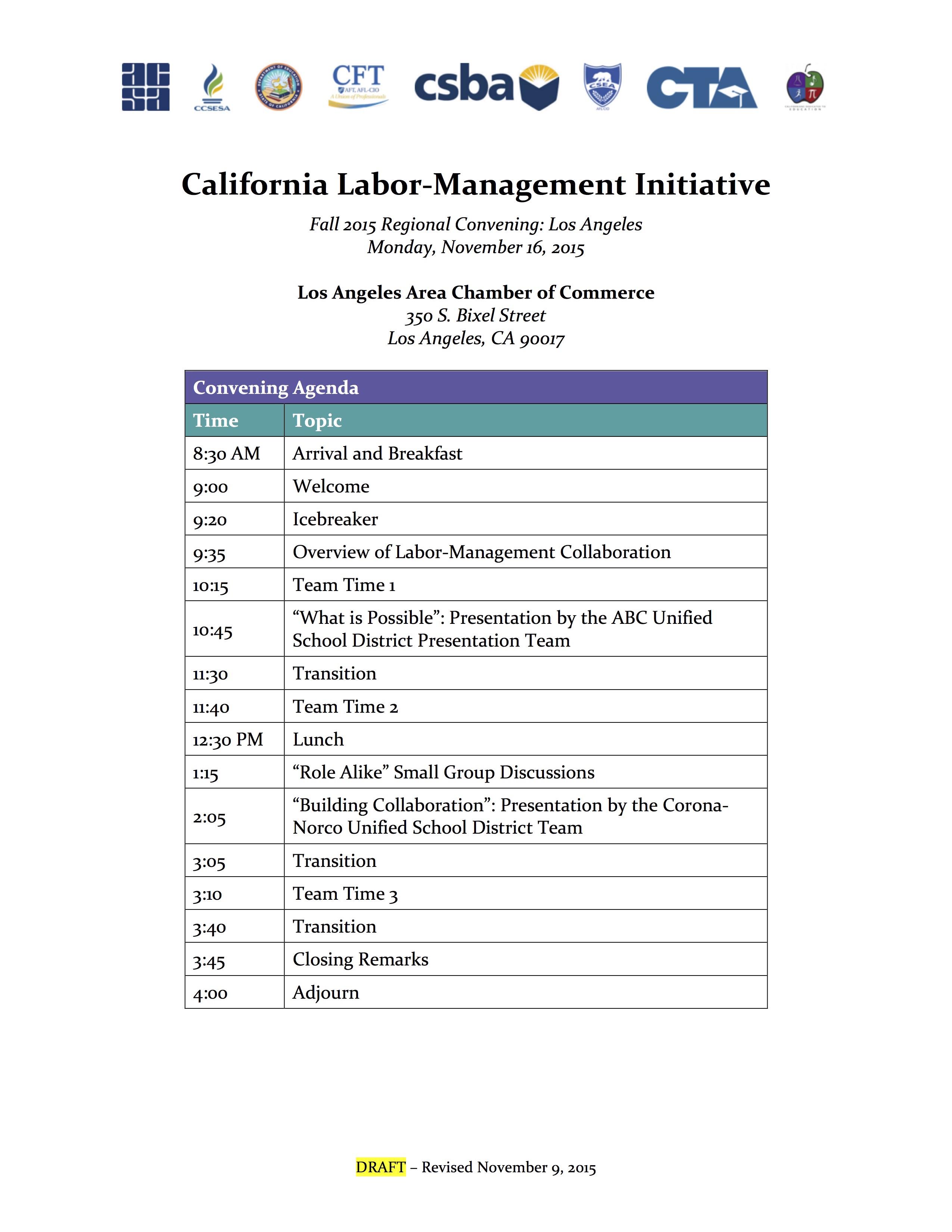 CA LMI Los Angeles Convening Agenda