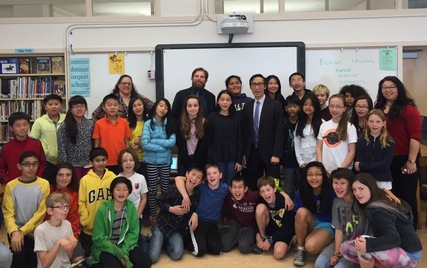 Post Title: NaNoWriMo. Image Caption: Roosevelt Middle School Novelists with San Francisco Supervisor Eric Mar.